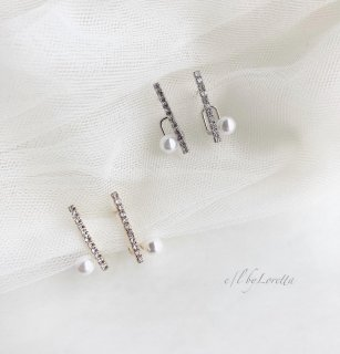(全2色)Crystal stick × pearl pierce ear cuff