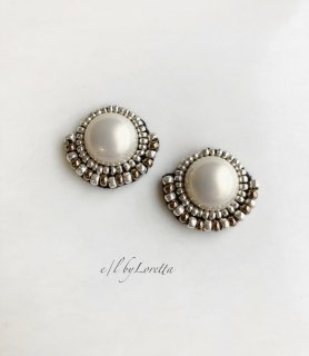 Pearl × beads stitch pierce/earring