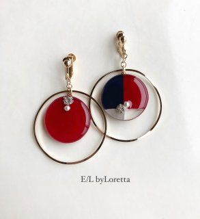 3color big hoop pierce/earring(Red)