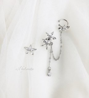 Crystal flower chain pearl pierce ear cuff
