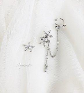 Crystal flower chain pierce ear cuff