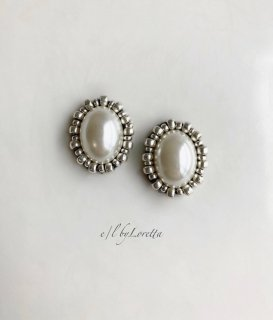 【10/24(sat)21:00〜Order Start.】Oval pearl stitch pierce/earring