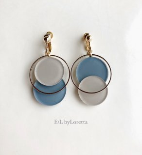 【10/26(mon)21:00〜Order Start.】Asymmetry color pallet pierce/earring(Beige×Blue)