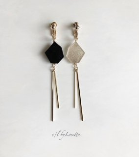 Asymmetry KAKERA w stick pierce/earring(Black × Gold)