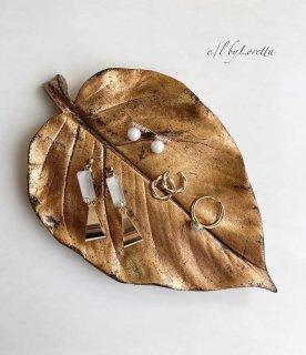 Leaf antique color accessory tray(Antique Gold)