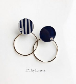 Asymmetry circle stripe pierce/earring(Stripe × Navy)