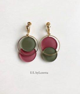 Asymmetry color pallet pierce/earring(Khaki×Pink)