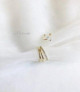 Crystal stone × 3連 crystal ear cuff