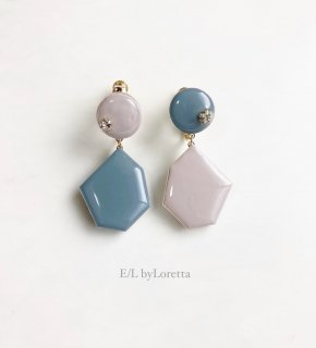 Color Asymmetry KAKERA pierce/earring(Smoky Pink × Blue)