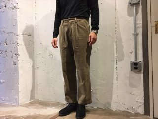 RICCARDO METHA -1 tuck wide trousers (corduroy) beige- Made in Italy