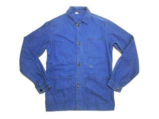 70's Vintage フランス製 ユーロ ワークジャケット ヘリンボーン フレンチブルー カバーオール 古着◆Size:40(M)【USED】