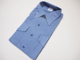 90's【US NAVY】SEAFARER L/S CHAMBRAY SHIRT シーファーラー 長袖 シャンブレーシャツ【DEADSTOCK】