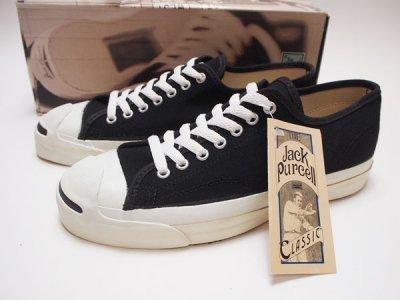 90's USA製 デッドストック【Converse】コンバース ジャックパーセル キャンバス JACK PURCELL 黒◆US-8 1/2 (27�)【DEADSTOCK】