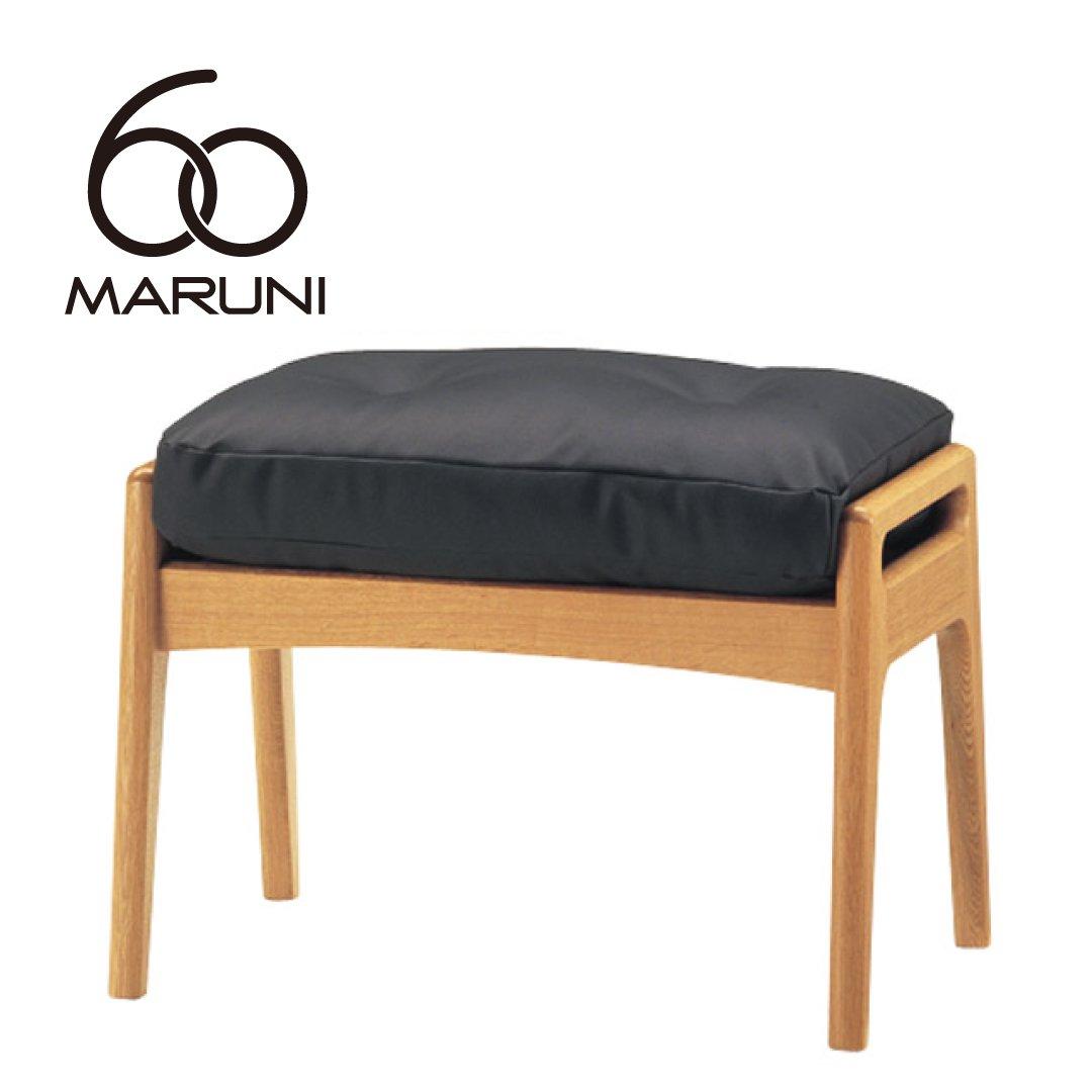 マルニ60+ オークフレームオットマン (ビニールレザー/ブラック)