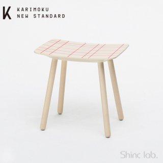 KARIMOKU NEW STANDARD カラースツール ウォームホワイト+ピンクグリッド