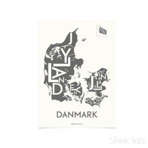 KORTKARTELLET(コートカルテレット)ポスター 50×70cm デンマーク グレー