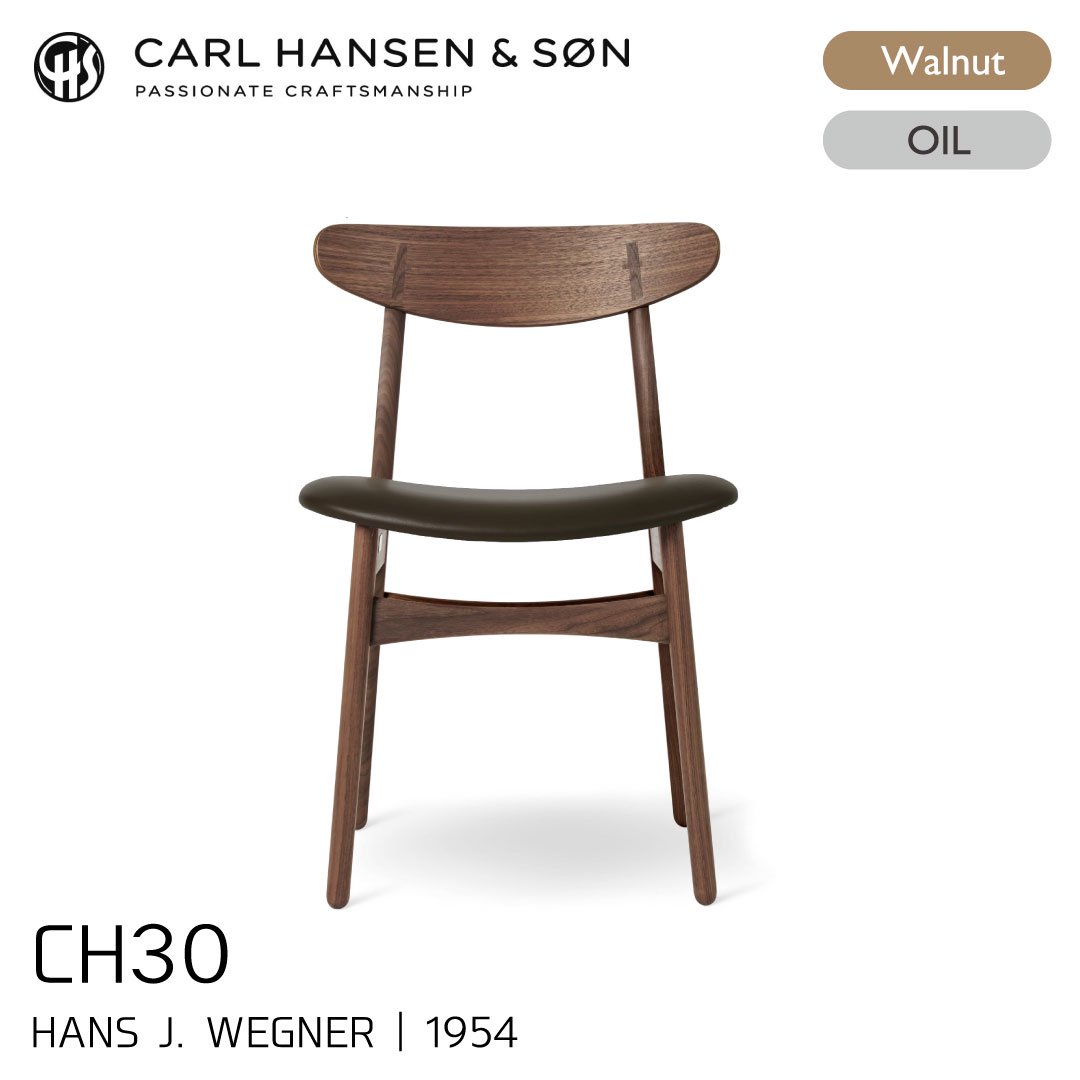 カールハンセン&サン CH30/ウォルナット材・オイルフィニッシュ・ブラックレザー Thor301