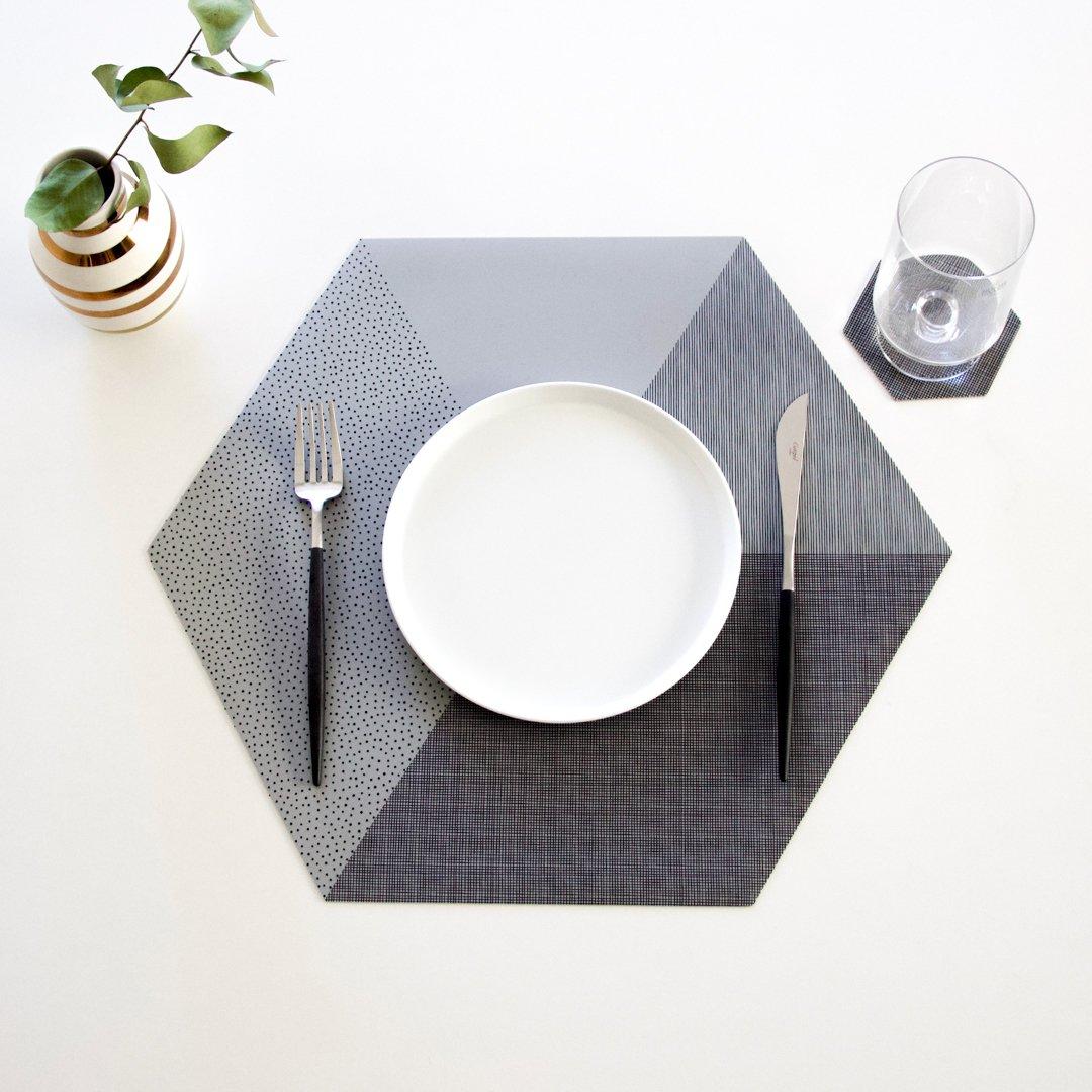 六角形プレイスマット 2枚セット コンクリートグレー