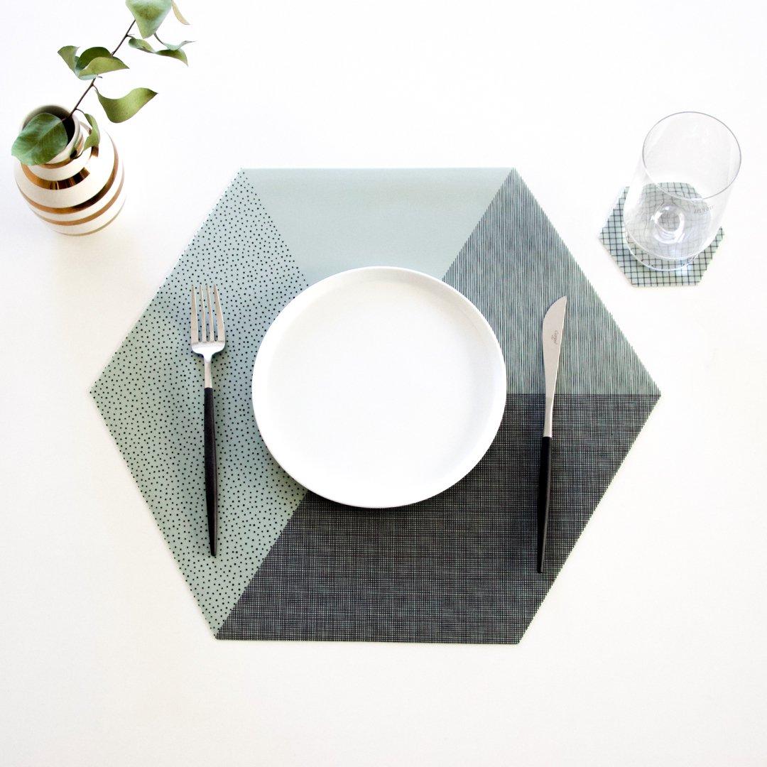 六角形プレイスマット 2枚セット ミントグリーン