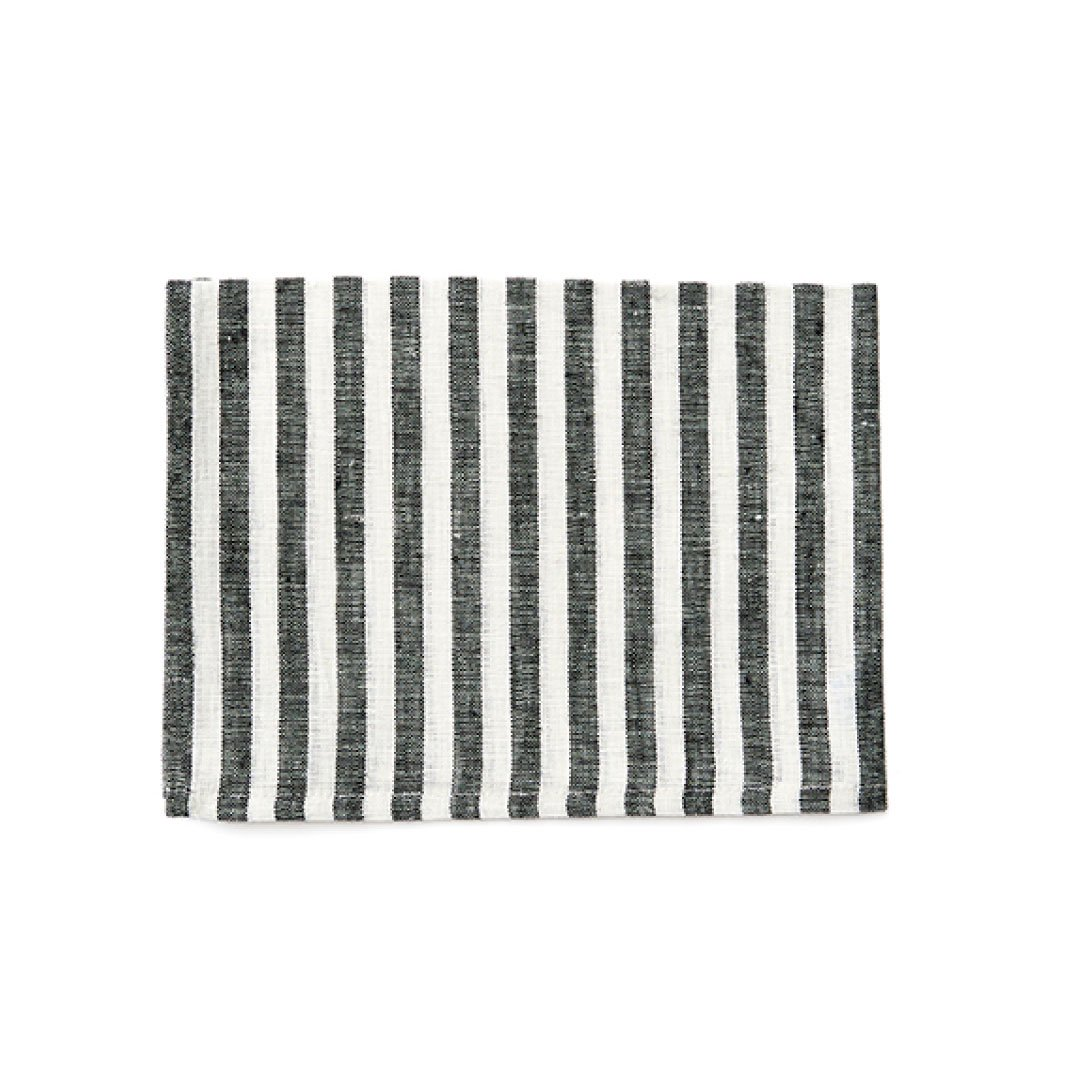 【ネコポス対応商品】<br>fog linen work(フォグリネンワーク) リネンキッチンクロス ブラックホワイトストライプ