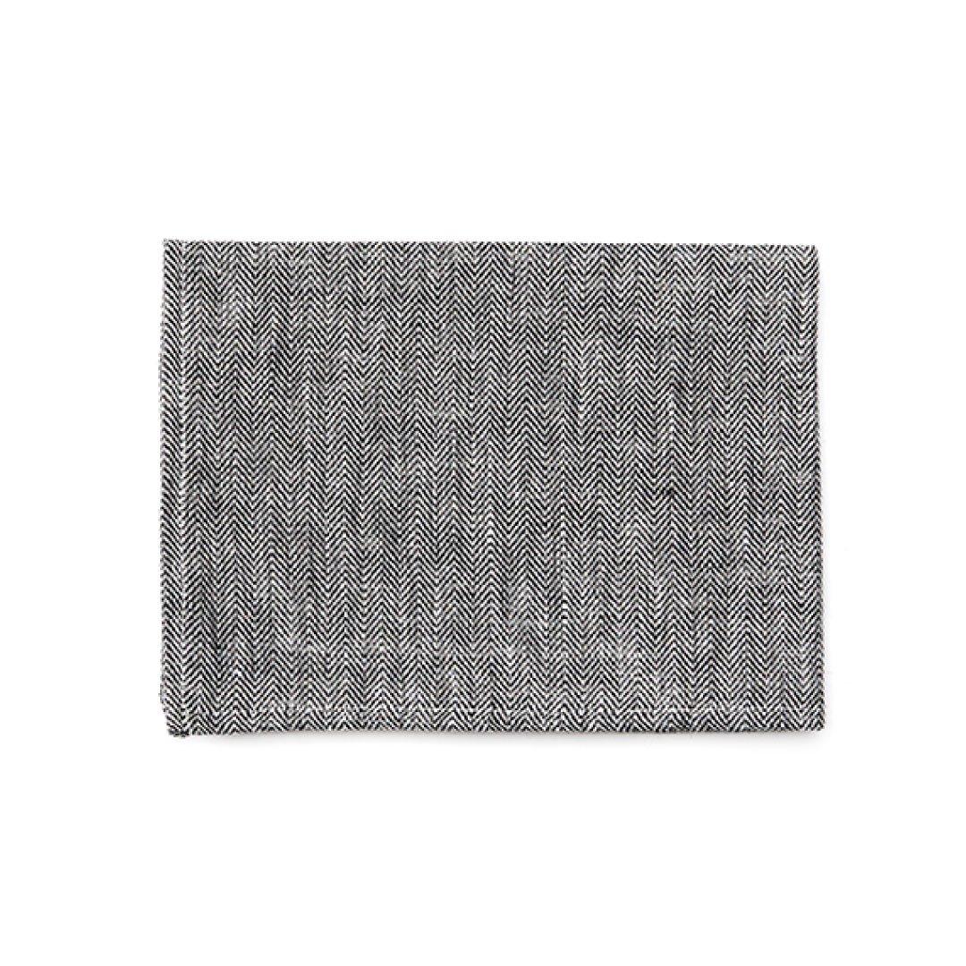 【ネコポス対応商品】<br>fog linen work(フォグリネンワーク) リネンキッチンクロス ヘリンボーンブラック