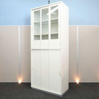 【圧迫感の少ない「透明ガラス引戸の扉」が、空間を明るく広く感じさせる】【ガラス3枚引戸+3枚引戸書庫】【中古】プラス/LX-5 ホワイト色 高さ2150mm