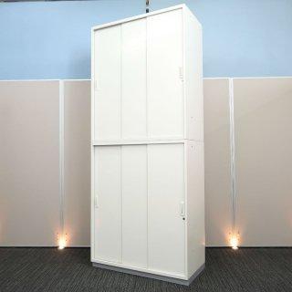 【開口部が広く、書類が探しやすい「3枚引戸の扉」】【3枚引戸+3枚引き戸書庫】【中古】プラス/LX-5 ホワイト色 高さ2150mm