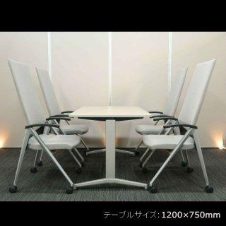 【最大限にコンパクト。小さくてもビッグな佇まい】【テーブル+チェア�脚セット】【中古】「イトーキ/DE(テーブル)」+「コクヨ/スクリーン(チェア)」