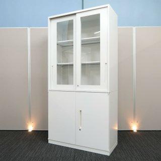 【基本機能を追求した シンプル デザインが、心地良い空間をつくり出す】【ガラス引戸+両開き2段書庫】【中古】ウチダ/ハイパーストレージ HS オフホワイト色 高さ1805mm