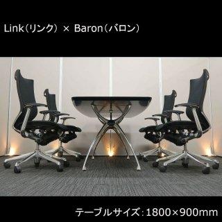 <img class='new_mark_img1' src='https://img.shop-pro.jp/img/new/icons1.gif' style='border:none;display:inline;margin:0px;padding:0px;width:auto;' />【繊細な美しさが際立つ、高品質で快適な スタイリッシュ デザイン】【ペーパーレス時代のワークスペースにも】【テーブル+チェア�脚セット】【中古】アダル/リンク+ オカムラ/バロン