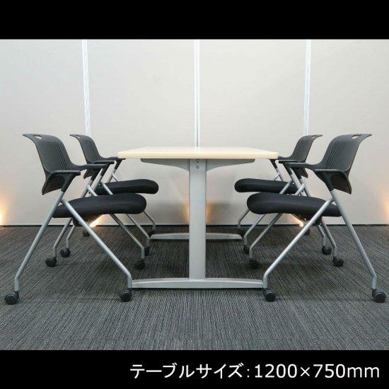 【ウッド調テーブルが 優しい雰囲気をつくり出す】【テーブル+チェア�脚セット】【中古】オカムラ/8177(テーブル)+ イノウエ/PNO(チェア)