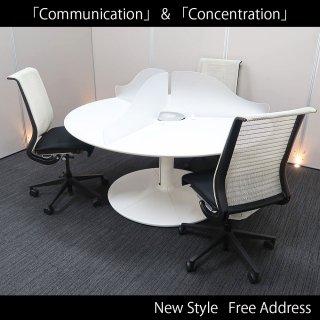 【「コミュニケーション(対話)」と「コンセントレーション(集中)」の絶妙なバランス。フリーアドレスの進化系】【テーブル+チェア�脚セット】【中古】コクヨ/ワークリンク+スチールケース/シンク