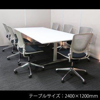 【モノトーン色にシルバーグレーのアクセントが、クールな空間をつくり出す】【テーブル+チェア�脚セット】【中古】オカムラ/EX-200 + グラータ