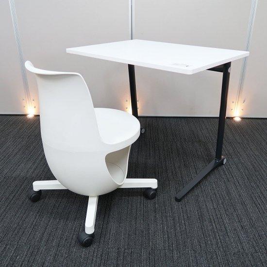【ユーザーに優しい工夫と、インテリアに映えるデザイン性】【テーブル+チェアセット】【中古】オカムラ/イーチェア + ライブス パーソナルテーブル
