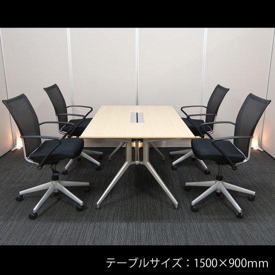 【優れたデザイン性と快適さを両立した、シャープでスタイリッシュなセット】【テーブル+チェア�脚セット】【中古】イトーキ/DD + ヘイワース/X99