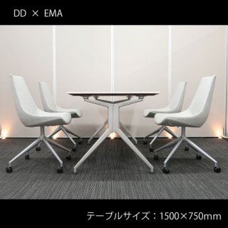 【優れたデザイン性と快適さを両立した、シャープでスタイリッシュなセット】【テーブル+チェア�脚セット】【中古】イトーキ/DD + SOGOKAGU/EMA(エマ)