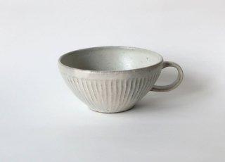 しのぎスープカップ・粉引|伊藤豊