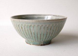 しのぎ飯碗・大 緑灰釉|くるり窯