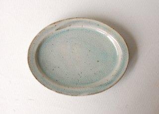 オーバル皿・小 緑灰釉 くるり窯