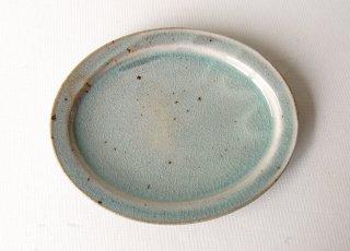 オーバル皿・中 緑灰釉 くるり窯