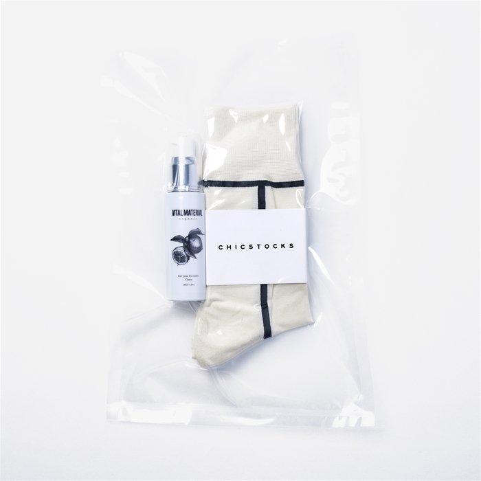 VITAL MATERIAL×CHICSTOCKS HAND GEL Pack  LINE 02×10 Ivory×Black