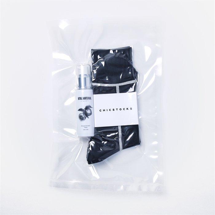 VITAL MATERIAL×CHICSTOCKS HAND GEL Pack  LINE 10×01 Black×White