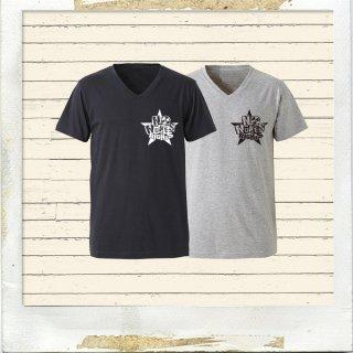NO NUKES RIGHTS VネックオーガニックコットンTシャツ