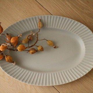 STRIPE オーバル皿 グレー