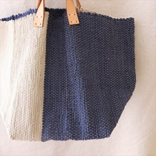 韓色裂き織バッグ L ネイビー×グレー