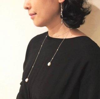 eunnamu/ 真珠 ラインロングネックレス