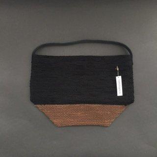 韓色裂き織バッグ M ブラック×ブラウン