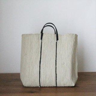 韓色裂き織バッグ M  ストライプ グレー