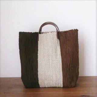韓色裂き織バッグ M ブラウン ストライプ