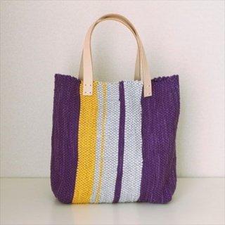 韓色裂き織バッグ M たてなが 紫